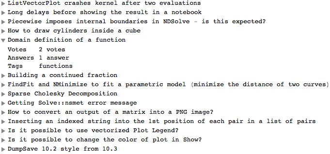 Screenshot of the formatting of questions